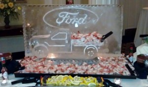 Ford F250 loaded with seafood.