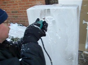 Die grinder detailing ice.
