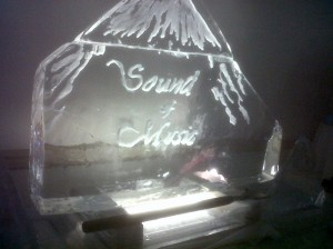 Any logo or text can be added to your ice carving.